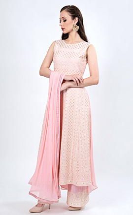 Light Baby Pink Embroidered Kurta with Palazzo and Dupatta