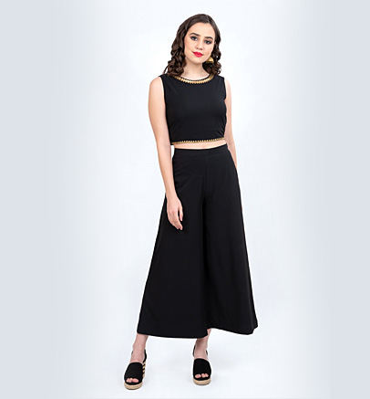 Black Embellished Crop Top with Palazzo and Longline Shrug