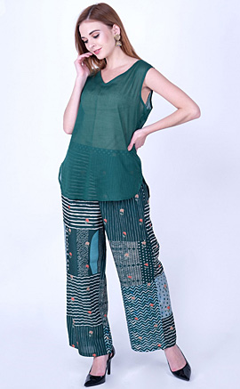 Peacock Green Silk Embroidered Contemporary Kurta and Pant Set