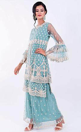 Stunning Light Blue A-Line Embroidered Net Kurta Sharara Set