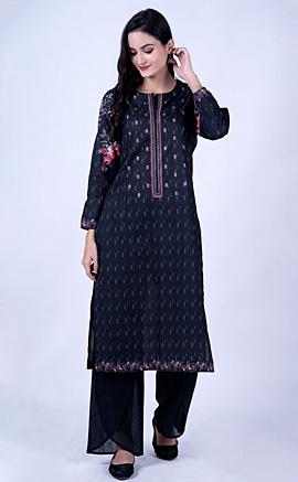 Black Cambric Cotton Digital Printed And Embroidered Kurta Set