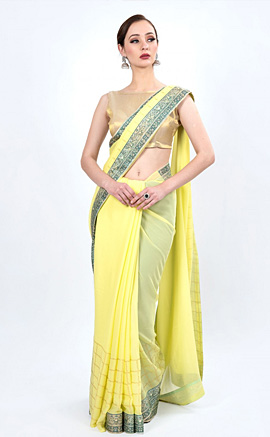 Delicate Light Yellow Foil Printed Georgette Saree