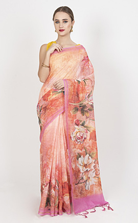 Exclusive Cotton Chanderi Lightweight Floral Printed Saree