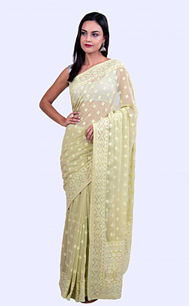 Thread Embroidered Pista Green Georgette Saree with Stone Embellishment