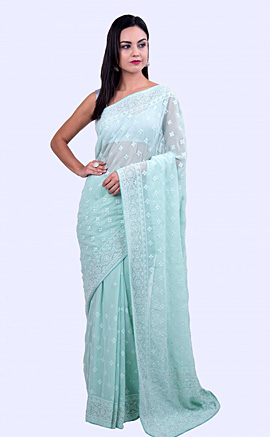 Thread Embroidered Ice Blue Georgette Saree with Stone Embellishment